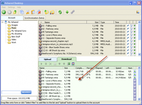 dragging1 e1269598258922 Multiple files download in few clicks