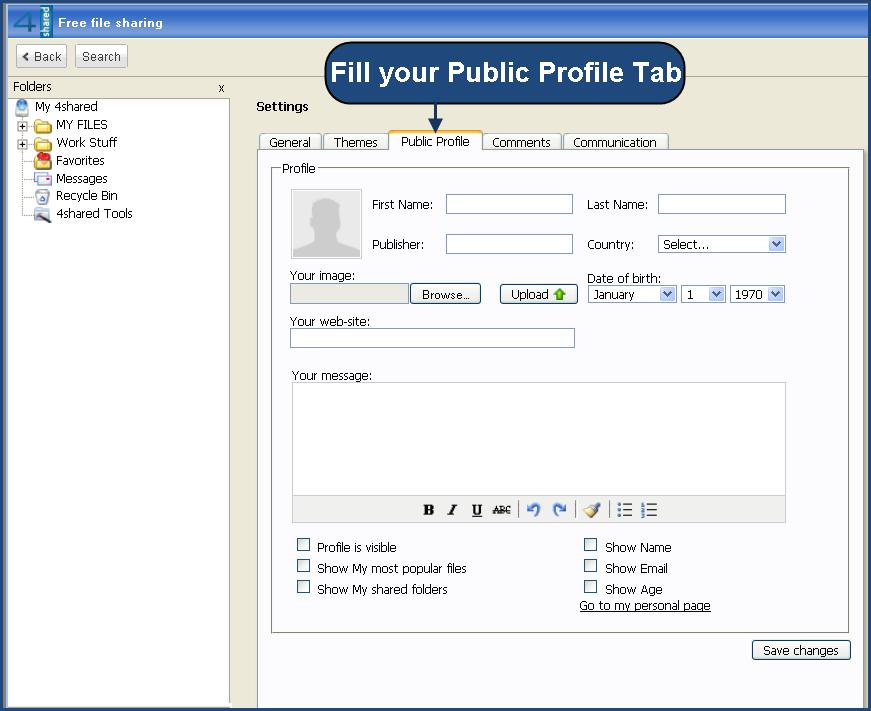 Public Profile Tab