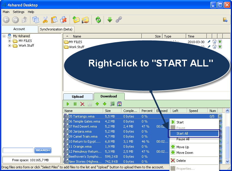 """right-click to """"START ALL"""""""