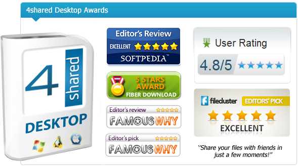 filecluster 4shared Desktop gets 5 Stars Editors Pick Award at Filecluster!