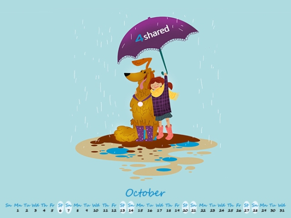 4shared October 640х4801 Perk up your Devices with Cutting Edge 4shared October 2012 Calendar!