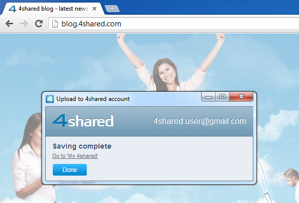 complete upd Install our brand new SAVE TO 4SHARED extension for Google Chrome