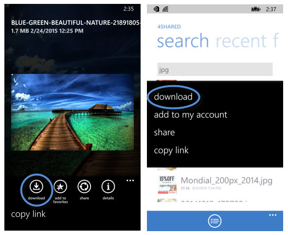 4shared for Windows Phone 1.1.3 download feature